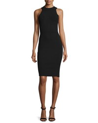Milly Sleeveless Halter Neck Structured Sheath Dress Black