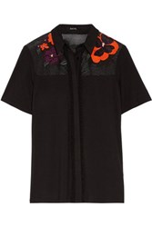 Raoul Fina Embroidered Mesh Paneled Stretch Jersey Blouse Black