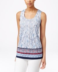 Charter Club Embroidered Tank Top Floral Print Intrepid Blue