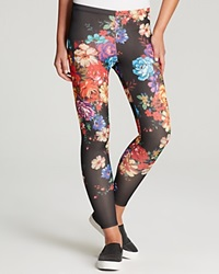 Aqua Leggings Floral Scuba Black Multi