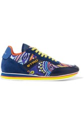 Etro On The Run Leather And Suede Trimmed Printed Neoprene Sneakers Blue