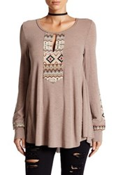 Anama Loose Fit Embroidery Panel Blouse Beige