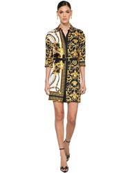 Versace Printed Silk Twill Mini Shirt Dress Multicolor
