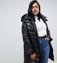 Lovedrobe Wet Look Long Quilted Coat With Faux Fur Trim Black