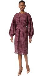 Zimmermann Karmic Embroidered Dress Burgundy