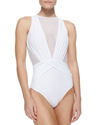 Oye Swimwear Elvira Sheer Wrapped One Piece Swimsuit White