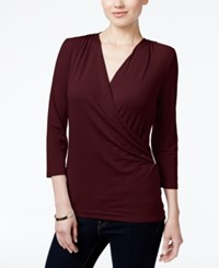 Charter Club Petite Printed Faux Wrap Top Created For Macy's Cranberry Red