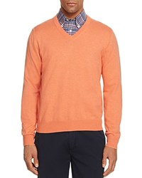 Brooks Brothers Cotton V Neck Sweater Orange