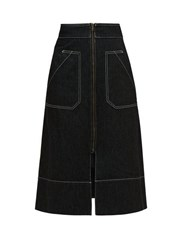 Ssone Oak A Line Denim Midi Skirt Black