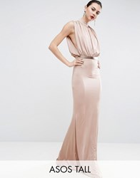 Asos Tall Slinky High Neck Metallic Belt Maxi Dress Pink Grey