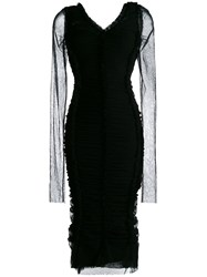 Dolce And Gabbana Ruched Fitted Dress Black