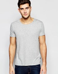Replay T Shirt Wide Neck Laser Cut In Grey Melange Grey
