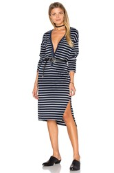 Sundry Long Sleeve Henley Dress Navy