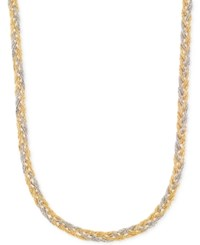 Macy's Two Tone Braided Collar Necklace In 14K Yellow And White Gold Two Tone