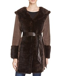 Maximilian Furs Leather Belt Mink Fur Trim Down Coat Brown