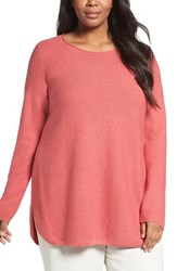 Eileen Fisher Plus Size Women's Organic Cotton Links Sweater Persimmon