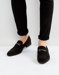Asos Loafers In Black Faux Suede With Snaffle Detail Gray