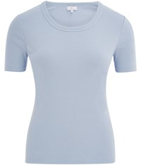 Cc Embroidered Crew Neck T Shirt Pastel Blue