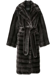 Goen.J Oversized Faux Fur Coat Grey