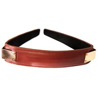 Colette Malouf Leather Maneframe Headband Rust