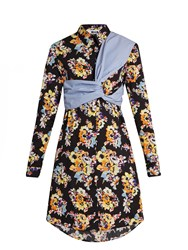 Msgm Floral Print Twisted Panel Cotton Shirtdress Black Multi