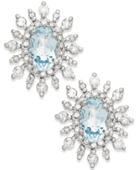 Macy's Aquamarine 3 8 Ct. T.W. And Diamond 3 8 Ct. T.W. Earrings In 14K White Gold