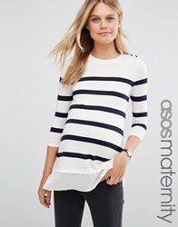 Asos Maternity Breton Stripe Top With Button Cream Navy Multi