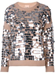 Nude Sequin Embroidered Sweater Neutrals