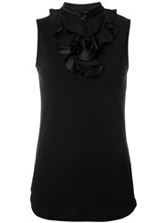 Emporio Armani Sleeveless Ruffled Blouse Women Silk Polyamide Viscose 40 Black