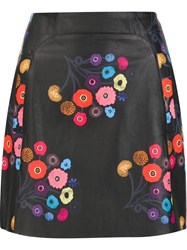 Tanya Taylor Floral Print Mini Skirt Black