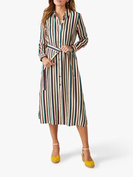 Pure Collection Linen Striped Shirt Dress Multi