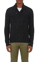 Barneys New York Men's Cashmere Donegal Effect Shawl Sweater Black