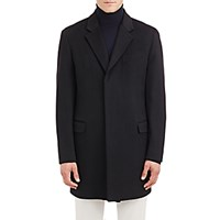 Barneys New York Men's Melton Coat Black Blue Black Blue
