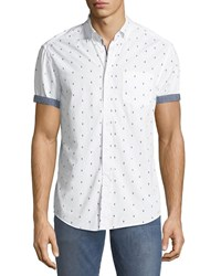 Report Collection Cocktail Print Short Sleeve Sport Shirt White