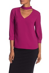 Trina Turk Opal Front Cutout Solid Blouse Boysenberry