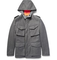 Wooster Lardini Reversible Wool And Shell Hooded Field Jacket Gray