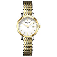 Rotary Lb05301 01 Women's Windsor Date Bracelet Strap Watch Silver Gold