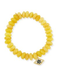 Sydney Evan 10Mm Yellow Opal Beaded Bracelet With Diamond And Sapphire Flower Eye Charm