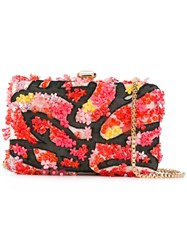 Elie Saab Floral Applique Clutch Women Leather Nylon Pvc One Size Black