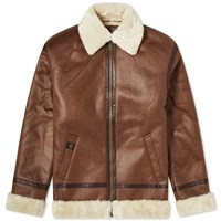 Alpha Industries B3 Faux Leather Flight Jacket Brown
