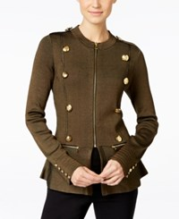 Inc International Concepts Peplum Military Jacket Olive Drab