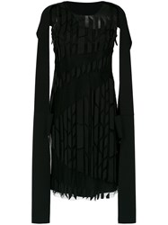 Gloria Coelho Panelled Cape Dress Black