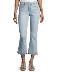 Derek Lam Gia Mid Rise Cropped Flare Jeans With Released Hem Light Blue
