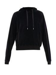Haider Ackermann Hooded Cotton Blend Velour Sweatshirt Black