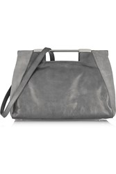 Halston Lauren Leather And Suede Tote Gray