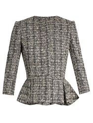 Alexander Mcqueen Cotton Blend Tweed Peplum Jacket Black Multi