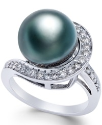 Macy's Black Tahitian Pearl 11Mm And Diamond 3 8 Ct. T.W. Ring In 14K White Gold