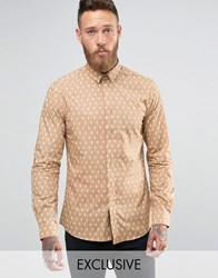 Noose And Monkey Cross Print Shirt Camel White Cross Tan