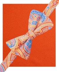 Countess Mara Bright Paisley Pre Tied Bow Tie And Pocket Square Set Orange