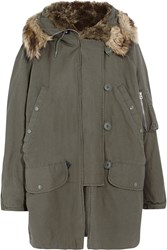 Mcq By Alexander Mcqueen Faux Fur Lined Cotton Parka Green